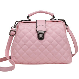 Lingge soft leather New Style Large Capacity handbag bag (Pink)