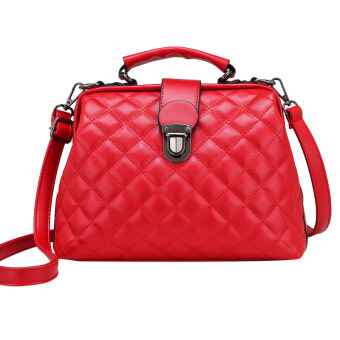 Lingge soft leather New Style Large Capacity handbag bag (Red)