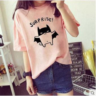 LOOESN summer New style women's short sleeved women base shirt T-shirt (Pink)
