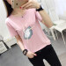 Loose cartoon female printed T-shirt black short sleeved t-shirt (Pink) (Pink)