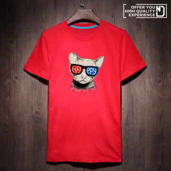 Loose Korean-style men New style T blood (Red happy cat cnt) (Red happy cat cnt)