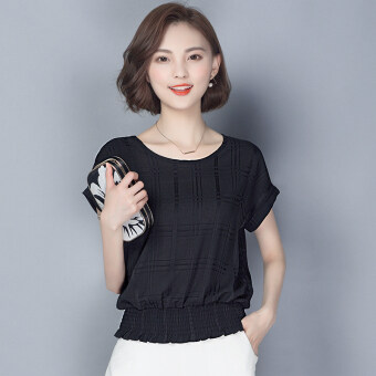 Loose short sleeved New style women's T-shirt chiffon shirt (Black short sleeved)