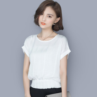 Loose short sleeved New style women's T-shirt chiffon shirt (White short sleeved)