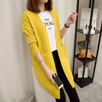 Loose versatile female mid-length sweater (Yellow)