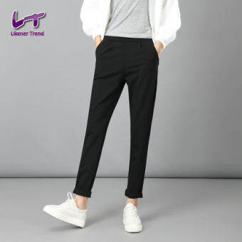Lt Spring and Autumn elastic waist stretch Korean-style black casual pants (Black trousers)