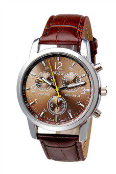 Luxury Crocodile Faux Leather Analog Brown Mens Watch