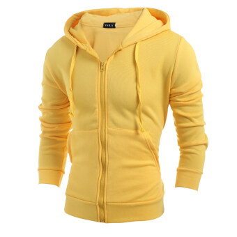 Men's fashion sports sweater solid color zipper jacket Sweatshirtscoat yellow