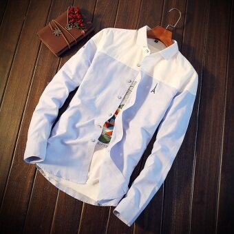 Men's men's handsome New style Slim fit long-sleeved shirt (Whitesky blue paragraph) (White sky blue paragraph)