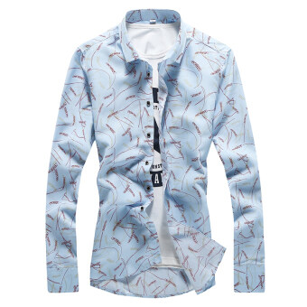 Men's Slim fit thin section flower floral-inch clothes tidelong-sleeved shirt (Sky Blue rice (thin section)) (Sky Blue rice(thin section))