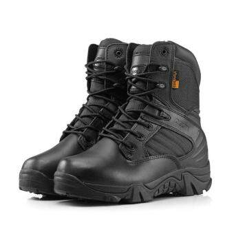 New Army Tactical Desert Mens Leather Combat Boots Military Shoes Soldier BLACK -Intl