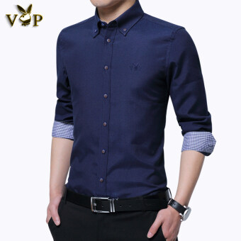 Playboy VIP Collection Slim fit stretch business casual long-sleeved white shirt (Sky blue)