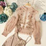 ?PRE-ORDER 21 DAYS?Perspective gauze high-necked 3d lace flowers lantern bubble sleeve harness sets