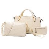 Set of 3: Classic Faux Crocodile Leather Bag (White)