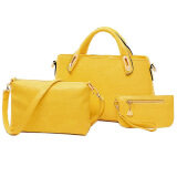 Set of 3: Classic Faux Crocodile Leather Bag (Yellow)