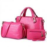 Set of 3:  Faux Croc Leather Bag (Pink)