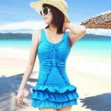 SoKaNo Trendz 1178 Series 1 Pcs Beach Wear With Skirt- Blue