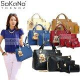 SoKaNo Trendz 5 Pcs Set Crocodile Faux Tote Bags- Black