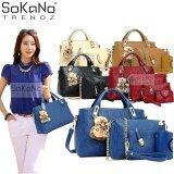 SoKaNo Trendz 5 Pcs Set Crocodile Faux Tote Bags- Blue