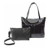 SoKaNo Trendz Classic Fashion PU Leather Set of 2 Tote Bag Handbeg Wanita - Black