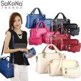 SoKaNo Trendz Elegant Faux Crocodile Leather Bags (Set of 3) Handbeg Wanita- Beige