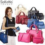 SoKaNo Trendz Elegant Faux Crocodile Leather Bags (Set of 3) Handbeg Wanita- Rose