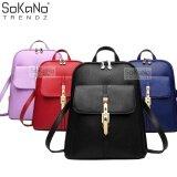 SoKaNo Trendz Korean Style PU Leather 318 Backpack Handbeg Wanita- Black