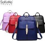 SoKaNo Trendz Korean Style PU Leather 318 Backpack Handbeg Wanita- Blue