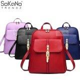 SoKaNo Trendz Korean Style PU Leather 318 Backpack Handbeg Wanita- Red