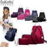 SoKaNo Trendz SKN735 Nylon Backpack 3 Pcs Set- Wine Red