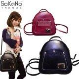 SoKaNo Trendz SKN743 2 Way PU Leather Tote Backpack Handbeg Wanita- Black