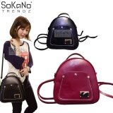SoKaNo Trendz SKN743 2 Way PU Leather Tote Backpack Handbeg Wanita- Red