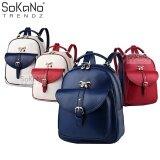 SoKaNo Trendz SKN744 European Style Premium PU Leather Double Strap Backpack- Blue