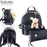 SoKaNo Trendz SKN745 Premium PU Leather Backpack Set of 3 Handbeg Wanita- Black
