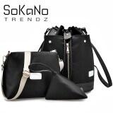 SoKaNo Trendz SKN749 3 Way Nylon Backpack 3 PCs Set- Black