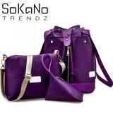 SoKaNo Trendz SKN749 3 Way Nylon Backpack 3 PCs Set- Purple