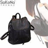 SoKaNo Trendz SKN750 PU Leather Draw String Double Strap Backpack Handbeg Wanita- Black
