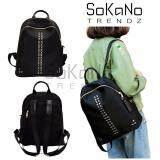 SoKaNo Trendz SKN752 Rivet Nylon Double Straps Backpack- Black