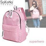 SoKaNo Trendz SKN763 Korean Style Double Strap Backpack Superhero Sporty Design Casual Unisex Backpack - Pink