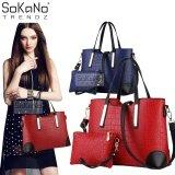 SoKaNo Trendz SKN806 Faux Crocodile PU Leather Tote Bag Set of 2 Handbeg Wanita- Red