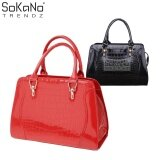 SoKaNo Trendz SKN810 Premium Faux Crocodile Design Top Handle Tote Bag Handbeg Wanita- Red
