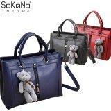 SoKaNo Trendz SKN812 Premium PU Leather Top Handle Bag With Cutie Bear Keychain Handbeg Wanita- Blue