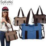 SoKaNo Trendz SKN813 Premium Canvas Woman 2 Way Tote Bag Handbeg Wanita- Blue