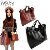 SoKaNo Trendz SKN814 2 in 1 Top Handle Classic Tote Bag Handbeg Wanita- Black