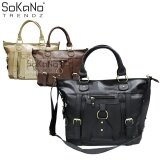 SoKaNo Trendz SKN817 Large Capacity Premium PU Leather Bag Handbeg Wanita- Black