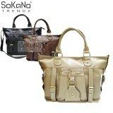 SoKaNo Trendz SKN817 Large Capacity Premium PU Leather Bag Handbeg Wanita- Light Khaki