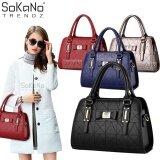 SoKaNo Trendz SKN822 European Style Premium Elegant Top Handle Tote Bag Handbeg Wanita- Black