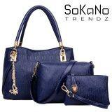 SoKaNo Trendz SKN824 European Designed Luxury Top Handle Tote Bag (Set Of 3) Handbeg Wanita- Blue