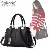 SoKaNo Trendz SKN834 PU Leather Elegant Style Tote Bag With Long Strap Handbeg Wanita- Black