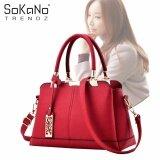 SoKaNo Trendz SKN834 PU Leather Elegant Style Tote Bag With Long Strap Handbeg Wanita- Red