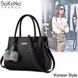SoKaNo Trendz SKN839 Korean Style Elegant Shoulder PU Leather Tote Bag Handbeg Wanita- Black
